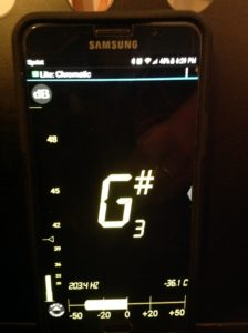 Tuner showing a flat G#